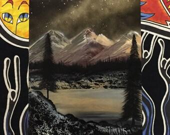 Golden Mountains - Spray Paint Art Poster