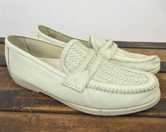 Woven Leather Loafers, Vintage White/Cream Slip On Shoes, Men's Size 12, Soft Stags Comfort Shoe, Boat Shoes