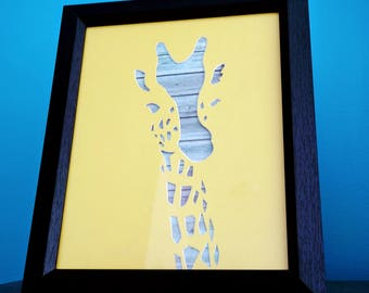 Giraffe Silhouette Hand Cut Art Unframed, Unique and Individual Artwork, Beth and Bill's Handcrafted.