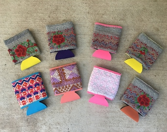 Hand Embroidered Koozies. Embroidered in India, Made in Austin, TX.