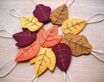 Set of 10 autumn leaf ornaments, fall decorations