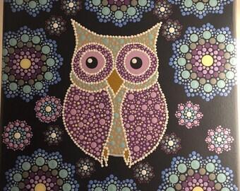 "Hand-Painted Owl Mandala 8x10"" Canvas Painting"