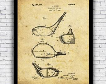 Golf Club Driver Metallic Head patent - wall art print (w/ optional frame)