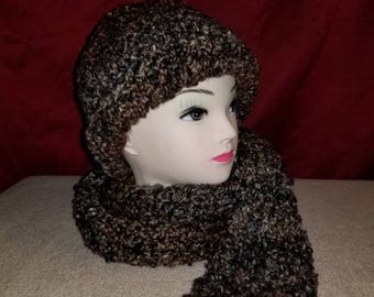 Shades of brown hat and scarf set