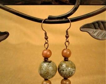 Sage Green and Brown Drop Earrings