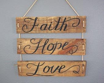 Love,Faith,Hope sign,pallet sign,pallet art,rustic decor