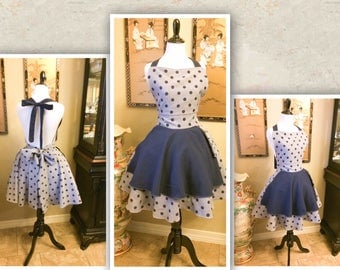 Navy Polkadoted full skirt vintage style apron for adults