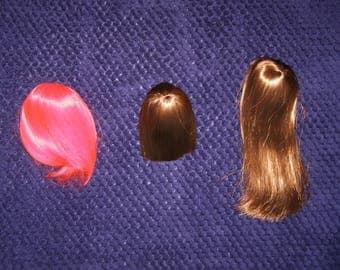 "7"" wigs for bjd dolls.1/4 MSD.lot 3 new wigs for Minifee doll 40-45cm.hair"