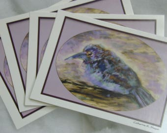 Cards African Purple Roller 4 notecards