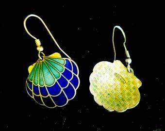 Vintage Shell Cloisonne earrings