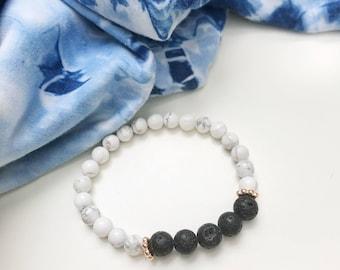Black & white marble diffuser bracelets