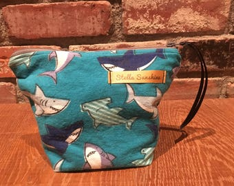 Sharks cosmetic bag, makeup pouch, toiletry bag, handmade