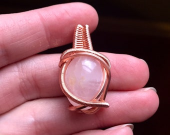Rose Quartz Copper Pendant
