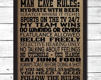man cave, man cave rules, man cave sign, man cave decor, man cave wall art, man cave decoration, man cave art, funny man cave sign, H7
