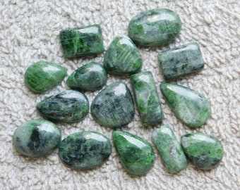 Lot ! Amazing Chrome Diopside from Russia Gemstone cabochons loose gemstone top quality handmade smooth polish 150.00cts, 15 Pieces.