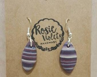Multi coloured stripey polymer clay drop earrings