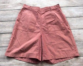 Vintage Women's LL Bean High Waist Shorts Size 8 Red Side Button Lightweight Cotton Walking