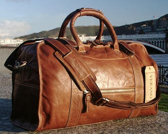 SALE : New Genuine Italian Leather Duffle Weekend Gym Travel Flight Cabin Sports Bag Holdall Mens Birthday Gift Brown Verano