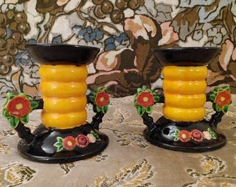 Pair Colorful MARUHON WARE Candlesticks 1930s Made in Japan Handcraft