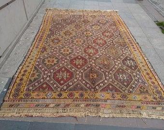 """Handmade kilim rug270x180cm 106""""x70"""",Turkish kilim rug,Anatolian kilim rug,vintage kilim rug,tribal kilim rug, Handmade kilim rug"""