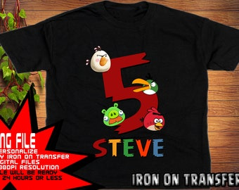 Angry Birds Iron On Transfer, Boy Birthday Shirt, Angry Birds Birthday Shirt DIY, Angry Birds Shirt DIY, Personalize Name,Digital Files