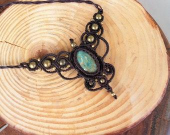 macrame necklace,handmmade necklace,macrame jewellery,bohemian jewellery,stone necklace,bohemian necklace,boho fashion,fuchsite necklace