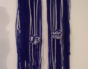 Yarn wall hanging, Yarn Wall Art, Boho art, Bohemian Wall Hanging, Tapestry, Textile art, Fiber art, Home Decor, Navy, White, Pom Pom