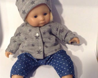 Jacket and gray star fleece doll Hat