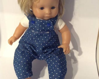 Dots pattern for doll denim overalls