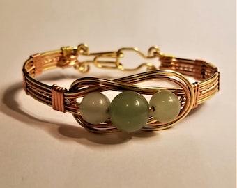 Bracelet - copper, brass,  and carnelian