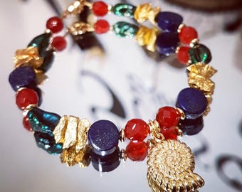 All gemstones, cultured pearls and silver bracelet pl. goldplated