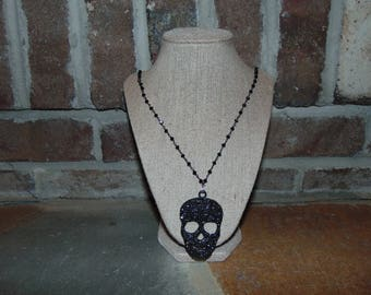 Black Rosary Chain with Black Skull Charm