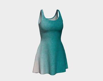 Ocean Sprayed Flare Dress