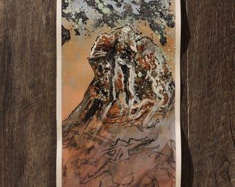 "Small Original Mixed Media Artwork On Paper - American Southwest Desert Landscape -""Canyonlands, Utah: Petroglyphs"""