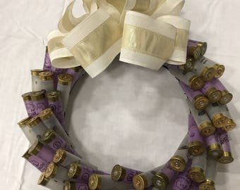 12inch Purple and Clear Shotgun Shell Wreath