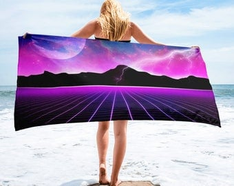 Retro 80's Electric Universe Sci Fi Beach Towel By Annuit Coeptis NYC