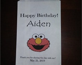 Custom Sesame Street Elmo Bag with Name Kraft Favor Bags (20) Birthday, Baby Shower, for all Occasions
