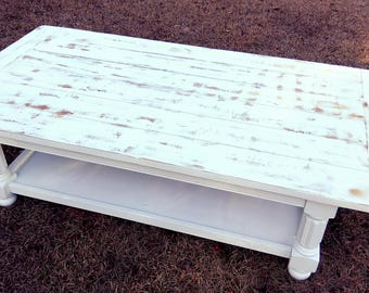 Farmhouse Coffee Table Distressed White Shipping Available