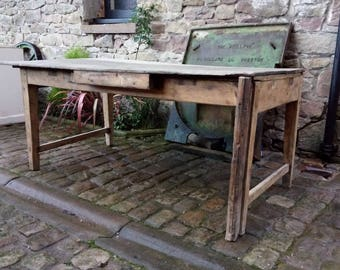 Old Reclaimed Industrial Workshop Table,handmade patchwork plank top,bench,dining,side,rustic,steampunk,cafe,shop,bar,tressle,rough,timber