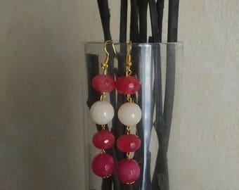 Earrings Fuchsia and White