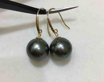 9-10mm High Quality Natural Tahitian Pearl Earrings w/18K Yellow Solid Gold Earwire, High Luster Dark Green Tahitian Pearl Bridal Earrings