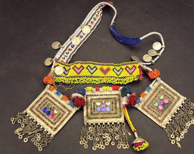 Afghan Tribal BELT Bellydance Dangles Turkoman 868j2