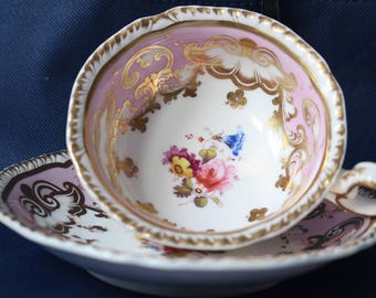 Beautiful Pink Antique Cabinet Cup and Saucer