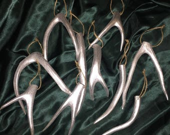 Silver Mule Deer Antler Shed Ornaments - Set of 10