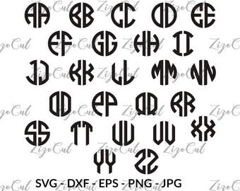Circle Monogram Font SVG , Circle Monogram alphabet two letter
