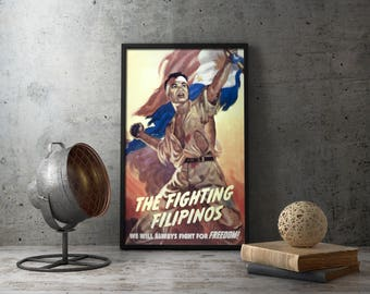 American Propaganda Poster - Fighting Filipinos, ww2 poster, wwii poster, propaganda posters, vintage militaria, military wall decor, war