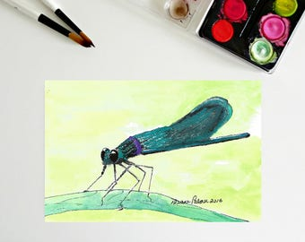 5 x 7, Dragonfly, art printables, ink and watercolor, downloadable art, tiny painting, insects, dragonflies, printable artwork, whimsical