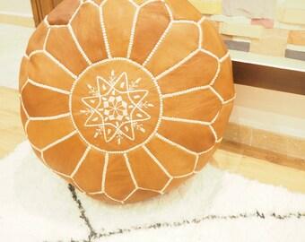 Moroccan tan handmade poufs/ustuffed poufs/Moroccan style