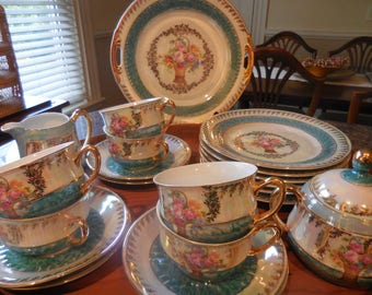 Antique Schaller Bavaria 21 piece Tea Set