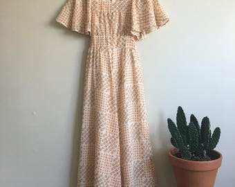 1970's David Silverman orange and brown maxi dress • Vintage • Retro • England • Feminine • Hippie • Goddess • Dainty  • Seventies • Boho •